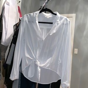 Tops - White button down w tie detailing